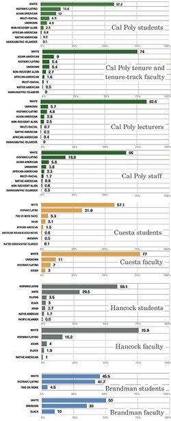 THE BREAKDOWN:  Cal Poly enrolls more white students than any four-year public university in California. These graphs break down racial demographics of four Central Coast colleges. - DATA COURTESY OF CAL POLY, ALLAN HANCOCK COLLEGE,  CUESTA COLLEGE, AND BRANDMAN UNIVERSITY