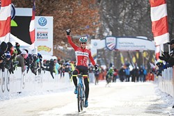 BEST IN THE U.S.:  SLO native Lance Haidet, 19, took first place at the U.S.A Cycling U23 Cyclocross Championship on Jan. 8 in Hartford, Conn. He's currently racing with the U.S. cyclocross team in Belgium. - PHOTO COURTESY OF MEG MCMAHON