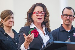 NEW MAYOR :  SLO Mayor-elect Heidi Harmon addresses a crowd at City Hall on Nov. 28 after defeating three-term incumbent Jan Marx by 47 votes. - PHOTO BY JAYSON MELLOM