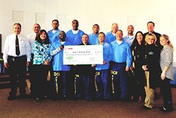 GIVING:  Men from the California Men's Colony presented their donation of $2,000 to Jack's Helping Hand at an award ceremony. - PHOTO COURTESY OF THE CALIFORNIA PRISON INDUSTRY AUTHORITY