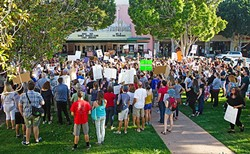 DUMP TRUMP:  SLO was one of several cities across the United States that saw protests in the wake of the Nov. 8 presidential election. - PHOTO BY JAYSON MELLOM