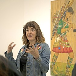 IN HER ELEMENT :  Artist Irene Hardwicke Olivieri gives an artist's talk about her work in the exhibit Trancing Out, currently on display at Cuesta College's Harold J. Miossi Gallery. - PHOTO COURTESY OF CUESTA COLLEGE