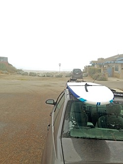 KOOK:  It should have been no surprise to me that Cayucos State Beach was mostly flat and foggy on this Monday morning. But that's the problem with surfing and me: My mind's always playing tricks. - PHOTO BY PETER JOHNSON