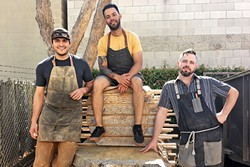 PASSION:  The Deadwood Revival trio makes unique furniture pieces by salvaging fallen or dead trees throughout San Luis Obispo County. - PHOTO BY KAREN GARCIA