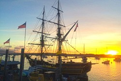 PIRATES?:  Occasionally pirate ships—it's not really a pirate ship—show up in the Morro Bay harbor. You can also kayak and paddle board in the harbor. - PHOTO BY CAMILLIA LANHAM