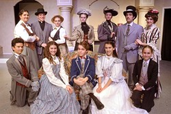 DOUBLE LIFE:  The cast of 'The Importance of Being Earnest' features some double casting: (back row, from left) Miss Prism (Carly Crow), Dr. Chasuble (Peter Buckingahm), Miss Prism (Kaylee Beardsley), Lady Bracknell (Alyssa Mickey), Miss Gwendolen Fairfax (Linnaea Marks), Mr. Jack Worthing (Jed Authier), Miss Gwendolen Fairfax (Sam Mucciacito), Merriman (Drew VanderWeele), Miss Cecily Cardew (Penny DellaPelle), Mr. Algernon Moncrieff (Isaac Capp), Miss Cecily Cardew (Sophia Lea), and Lane (Phoebe Browning). - PHOTO COURTESY OF  JAMIE FOSTER PHOTOGRAPHY