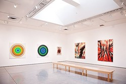 ART ON DISPLAY:  Artist Don Suggs' series of abstract landscapes hang at Cuesta's gallery earlier this year. - PHOTO COURTESY OF CUESTA COLLEGE