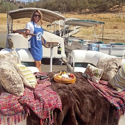 B.B. CUE :  Pontoon Wild owner Mel will get your Lake Nacimiento tour cooking with food, wine, and whatever else you need. - PHOTO COURTESY OF PONTOON WILD