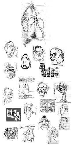 SKETCHY BUSINESS :  Notebook sketches of people like SLO City Councilmember John Ashbaugh and former SLO Mayor Ken Schwartz accompany finished cartoons in editorial cartoonist Russell Hodin's exhibit at Linnaea's Café. - IMAGES COURTESY OF RUSSELL HODIN