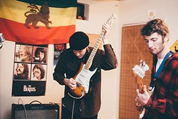 "WIZARDING WORLD:  SLO's own Pancho and the Wizards fuse garage, blues, and psychedelic vibes to create a cosmic cacophony. Pictured from left, guitarist and vocalist Tristan ""Pancho"" Cole Wildey and bassist Quentin Karamitsos. - PHOTO COURTESY OF RUBY VILLALOBOS"