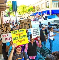 THE TRUMP EFFECT:  The election of Donald Trump triggered protests in SLO and across the country. - PHOTO BY JAYSON MELLOM