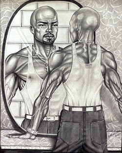 SELF-REFLECTION:  The pencil drawing, 'The Man in the Mirror,' by incarcerated artist Tony Chisom is accompanied by a letter of apology that Chisom wrote to himself for the actions that led to his imprisonment. - IMAGE COURTESY OF ROBERT E. KENNEDY LIBRARY