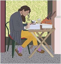 ZONING OUT:  A girl jots down a few notes at Scout Coffee Co. in downtown SLO in Julie Frankel's piece, 'Table for One.' - IMAGES BY JULIE FRANKEL