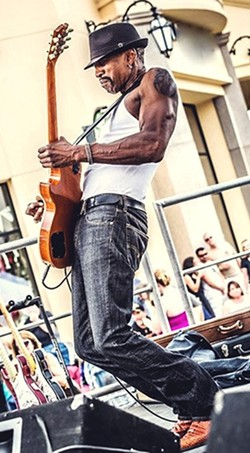 SIZZLING GUITAR SOLOS:  The San Luis Obispo Blues Society presents the Dennis Jones Band on April 8 at the SLO Vets Hall. - PHOTO COURTESY OF THE DENNIS JONES BAND