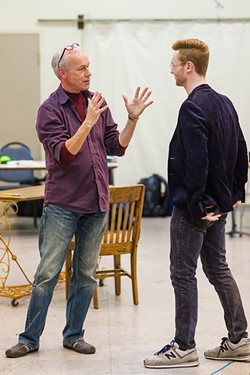 """BROADWAY BOUND:  Joe Ogren (right) plays the role of Max in Lend Me a Tenor under the watchful eye of director Brad Carroll (left). """"The first time I got to listen to this music and read this script, I really knew it was a special show,"""" Ogren said. - PHOTO BY JAYSON MELLOM"""
