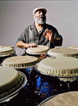 CONGA MASTER!:  Latin jazz superstar Poncho Sanchez headlines the fourth annual SLO Jazz Festival on May 20, in the SLO Mission Plaza. - PHOTO COURTESY OF PANCHO SANCHEZ