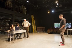 WORK IN PROGRESS:  Kevin Harris (right) directs actors (left to right) Erin Parsons, Cameron Park, and Tom Ammon during rehearsal for a production of 'Our Town,' showing through May 28. - PHOTO BY JAYSON MELLOM