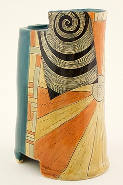 "COASTAL LOVE:  Cambria resident and ceramicist Patricia Griffin uses a technique called sgraffito, which is Italian for ""to scratch,"" on pieces like 'Near the Lighthouse,' which helps her achieve a hand-drawn look in her work. - PHOTO COURTESY OF PATRICIA GRIFFIN"