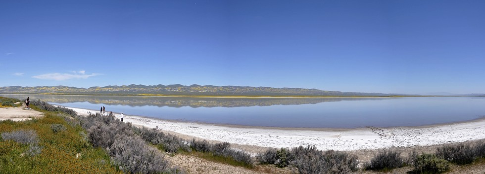 RAIN FULL Soda Lake reflects the yellow-spotted Caliente Range on April 1, 2017. - PHOTO CAMILLIA LANHAM