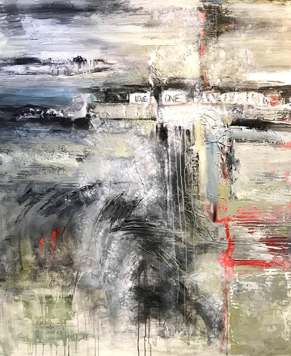DIVIDED Paso Robles artist Janice Pluma's piece Dark Times is an emotional depiction of our nation's current political climate. - IMAGE COURTESY OF THE PASO ROBLES ART ASSOCIATION