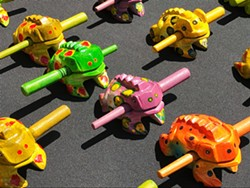 FROG CHORUS Mr. Cassidy's Gifts sells handcrafted sound-making frog toys.