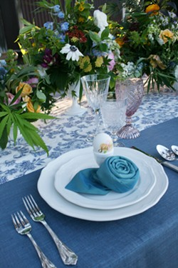 PASS IT AROUND A cannabis inspired wedding table spread is equally inviting and groovy thanks to Sprigs Floral Designs. - PHOTO BY HAYLEY THOMAS CAIN