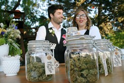 """BUDTENDERS Wedding event """"budtenders"""" Megan Souza and Eric Powers started Megan's Organic Market in 2013 in an effort to combat what they saw as a lack of verifiably organic medicine available to the cannabis community. - PHOTO BY HAYLEY THOMAS CAIN"""