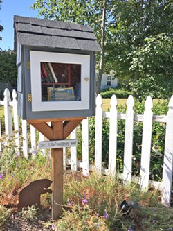 SHARING With the help of a neighbor, Angela Stoll created a space where her neighbors could share their love of books. - PHOTO BY KAREN GARCIA