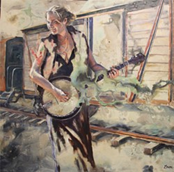 LOCAL SOUNDS SLO musician Erin Inglish is depicted in Colleen Gnos' painting, Will Not Obey. - IMAGE COURTESY OF COLLEEN GNOS