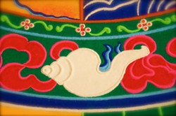 FOR A LIMITED TIME The finished mandala that the Tibetan monks of the Drepung Gomang monastery will create in SLO will be on display in its entirety for a limited time before it's swept up during the closing ceremony. - PHOTO COURTESY OF DREPUNG GOMANG SACRED ARTS TOUR