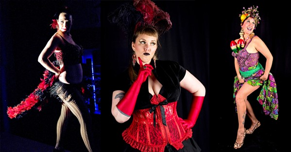 """LEGENDARY Burlesque on the Bar heats up the Rendarrio Vineyard tasting room this Aug. 26. Performers include Rouge de Sang (left); tasting room manager Liz Gillingham, aka, """"Liz Glamazon,""""(center); and Madam Minge (right). - PHOTOS COURTESY OF JASON HICKMAN PHOTOGRAPHY"""