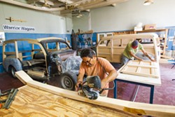 ACTING LOCALLY Alexander Guerrero owns Warrior Wagons, his business for restoring classic woody car bodies, and rents a workspace at the Blue Sky Center, which is mere blocks away from his home in New Cuyama. - PHOTO BY JAYSON MELLOM