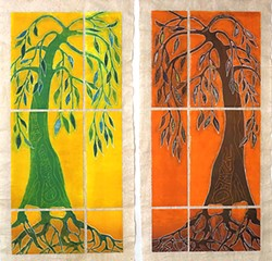 """CHANGED Santa Barbara artist Sara Woodburn's woodcut collaboration with Karen R. Schroeder, Climate Change: We Are Part of It, shows one tree with the word """"change"""" carved into it prospering, while another tree with """"denial"""" on it withers away. - IMAGE COURTESY OF SARA WOODBURN"""