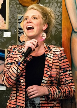 FUNNY GIRL Sabrina Pratt, founder of Central Coast Comedy Theater, hosts the group's weekly improv show every Saturday at Kreuzberg Coffee Co in SLO. - PHOTO COURTESY OF CENTRAL COAST COMEDY THEATER