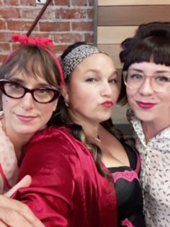 YOUR MAMA... Shawna Hood-Volpa, Cori Ramsay, and Michelle Madgett of the team Your Mom narrowly lost in a sudden death round to the Edwardian Buttholes at the improv battle show on Sept. 2.  - PHOTO COURTESY OF CENTRAL COAST COMEDY THEATER