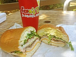 """GOOD EATS """"The Pipeline"""" is just one of many delicious sandwiches available at Kona's Deli on Foothill Boulevard. - PHOTO BY CHRIS MCGUINNESS"""