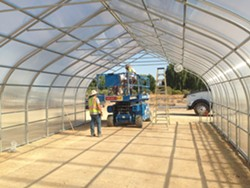 CONSTRUCTING New plant science courses will be offered at Cuesta College, and its north county campus is gearing up with a greenhouse to facilitate the classes. - PHOTO COURTESY OF CUESTA COLLEGE AGRICULTURE INSTRUCTOR DEAN HARRELL