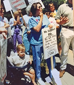 STRIKE Members of the SLO chapter of the California Nurses Association went on strike in 1999 and 2002. - PHOTO COURTESY OF SHERRI STODDARD