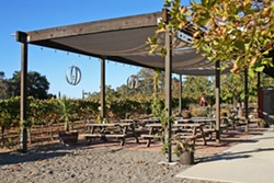 COME HANG Lone Madrone's seating area is where Sunday burger nights unfold each spring and summer. - PHOTO BY HAYLEY THOMAS CAIN