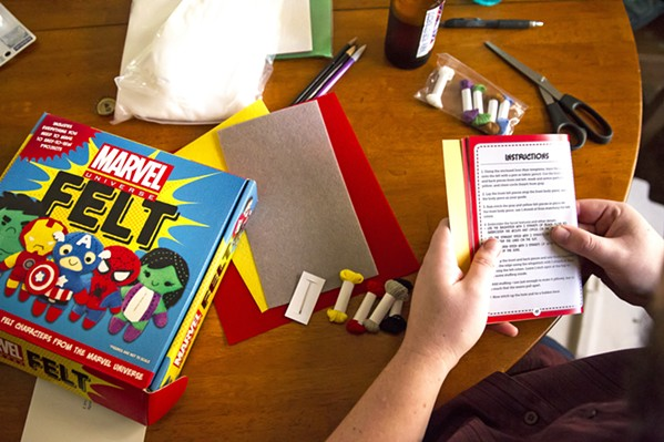 INSTRUCTIONS FIRST Definitely read the manual before diving into sewing your first Marvel Universe felt character. - PHOTO BY JAYSON MELLOM