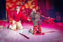 YOU'LL SHOOT YOUR EYE OUT Ralph (Don Stewart, left) recounts what happened when his younger self, Ralphie (Weston Marum), received a coveted gift one fateful Christmas, in SLO Repertory Theatre's production of A Christmas Story. - PHOTO COURTESY OF RYLO MEDIA DESIGN