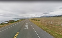 DEADLY PASS After a woman was killed and man suffered brain damage in a 2011 head-on collision on Highway 1 near Hearst Castle, a SLO County jury declared the stretch unsafe for car passing. - IMAGE COURTESY OF GOOGLE MAPS