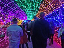 MERRY AND BRIGHT The tunnel of lights at the V.C. Cambria Christmas Market is a popular spot for photos and is the inspiration for many a festive Instagram post. - PHOTO BY RYAH COOLEY