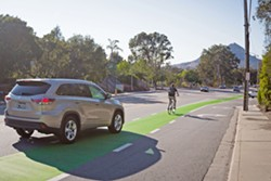BIKE DEBATE Plans for a bike boulevard that could remove 73 parking spaces in the North Broad neighborhood is sparking a debate in San Luis Obispo. - FILE PHOTO