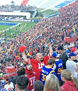 LIFE OF THE PARTY This jubilant Niners fan partied all through the fourth quarter, making many friends in the process. - PHOTO BY PETER JOHNSON