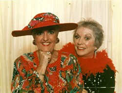 """COMEDY NIGHT Nancy Green (left) and Judy Jesness pose for the playbill of a one-act """"Evening of Comedy"""" with the Allied Arts Association at the old Santa Rosa Schoolhouse in Cambria. - PHOTO COURTESY OF NANCY GREEN"""
