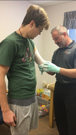 NEW TOOL Carson Miller is working with the Hanger Clinic in San Luis Obispo to find a prosthesis that will suit his needs. - PHOTO COURTESY OF CARSON MILLER