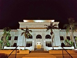 BEAUTY The Buenaventura City Hall is a historic landmark of the state of California, listed on the National Register for Historic Places—it's a sight to see when it's lit up at night. - PHOTO BY KAREN GARCIA