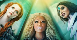 WARRIORS Otherworldly guides Mrs. Whatsit (Reese Witherspoon), Mrs. Which (Oprah Winfrey) and Mrs. Who (Mindy Kaling) travel far through time and space to help two kids find their father in A Wrinkle in Time. - PHOTO COURTESY OF WALT DISNEY PICTURES