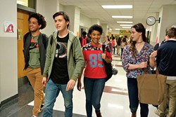HIGH SCHOOL CONFIDENTIAL Gay teen Simon (Nick Robinson, second from left) hides his sexuality from his best friends, (left to right) Nick (Jorge Lendeborg Jr.), Abby (Alexandra Shipp), and Leah (Katherine Langford). - PHOTO COURTESY OF FOX 2000 PICTURES